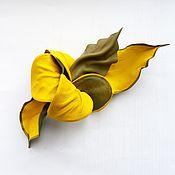 """Украшения ручной работы. Ярмарка Мастеров - ручная работа Брошь цветок из кожи """"Солнечный Зайчик"""" желтая солнечная оливковая. Handmade."""