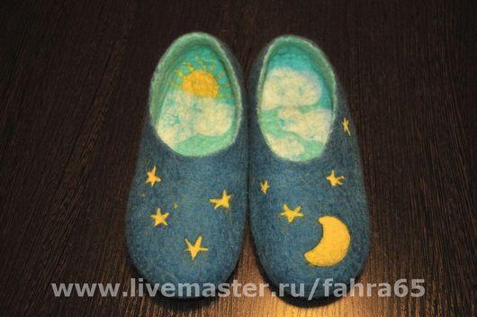 Обувь ручной работы. Ярмарка Мастеров - ручная работа. Купить День и ночь. Handmade. Синий, тапки из войлока