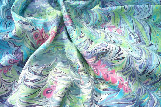 Шарфы и шарфики ручной работы. Ярмарка Мастеров - ручная работа. Купить В морской глубине. Handmade. Шелк, эбру на шелке