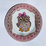 """Тарелки ручной работы. Ярмарка Мастеров - ручная работа Декоративная тарелка """"Совушка в розовом"""". Handmade."""