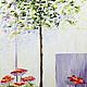 """Пейзаж ручной работы. Ярмарка Мастеров - ручная работа. Купить """"Фикус и стена. Южный город. Солнце, цветы и тени."""", картина масло. Handmade."""
