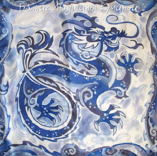 """Шали, палантины ручной работы. Ярмарка Мастеров - ручная работа. Купить батик платок """"Синий Дракон"""" шелк. Handmade."""