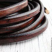 Шнуры ручной работы. Ярмарка Мастеров - ручная работа Шнур кожаный для regaliz (регализ) 10х6мм коричневый. Handmade.
