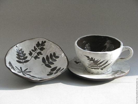 """Сервизы, чайные пары ручной работы. Ярмарка Мастеров - ручная работа. Купить Чайная пара и миска """"Мое лето"""", набор керамический. Handmade."""