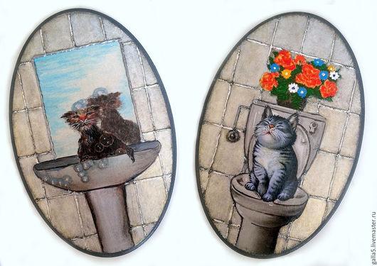 Ванная комната ручной работы. Ярмарка Мастеров - ручная работа. Купить Бирочки на двери ванной и туалетной комнаты ( овальные). Handmade.