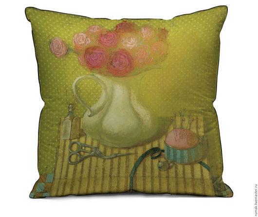 """Текстиль, ковры ручной работы. Ярмарка Мастеров - ручная работа. Купить наволочка """"розовый букет"""". Handmade. Желтый, наволочка, лен"""