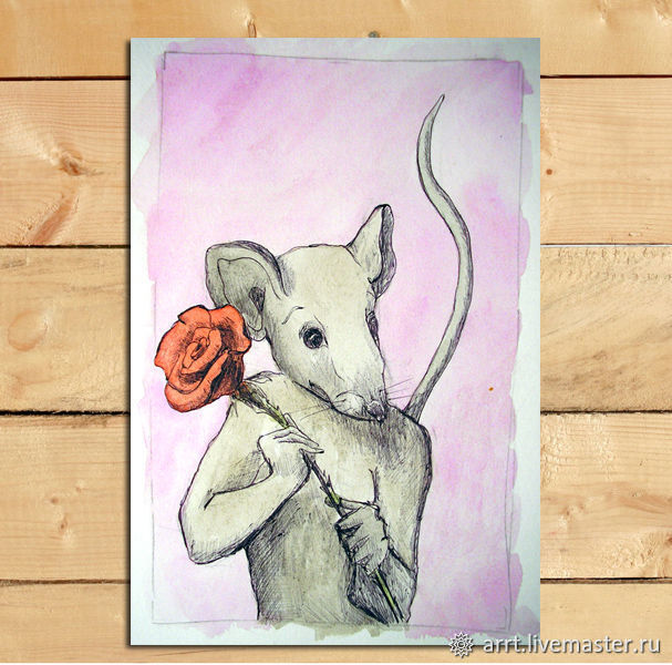 Rose and Mouse Postcard and drawing Gift for new year 2020, Christmas gifts, St. Petersburg,  Фото №1