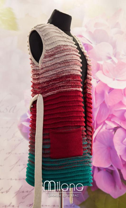 Жилеты ручной работы. Ярмарка Мастеров - ручная работа. Купить Вязаный жилет Стиль.. Handmade. Разноцветный, модная одежда, бежевый