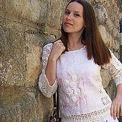 """Одежда ручной работы. Ярмарка Мастеров - ручная работа Вязяно-валяный свитерок """"Сахарная пудра"""". Handmade."""