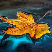 Pictures handmade. Livemaster - original item Oil painting Autumn leaf yellow maple leaf hyperrealism on canvas. Handmade.