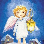 Сувениры и подарки handmade. Livemaster - original item Angel with lantern greeting Card for Christmas and New Year. Handmade.
