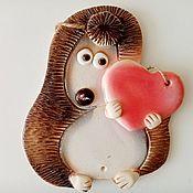 Картины и панно handmade. Livemaster - original item Handmade ceramic panel: hedgehog with heart. Handmade.