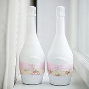 """Свадебный салон ручной работы. Ярмарка Мастеров - ручная работа Декор бутылок """"Чайная роза"""". Handmade."""