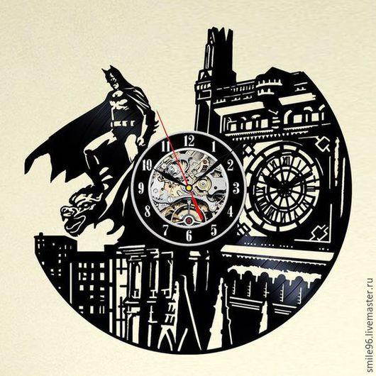 """Часы для дома ручной работы. Ярмарка Мастеров - ручная работа. Купить Часы из пластинки """"Batman"""". Handmade. Batman, бэтмен"""