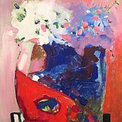 Картины и панно ручной работы. Ярмарка Мастеров - ручная работа Натюрморт с синей макитрой. Handmade.
