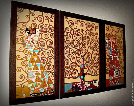 """Элементы интерьера ручной работы. Ярмарка Мастеров - ручная работа. Купить Картина по мотивам Г.Климта """"Древо жизни"""" 3 части.. Handmade."""