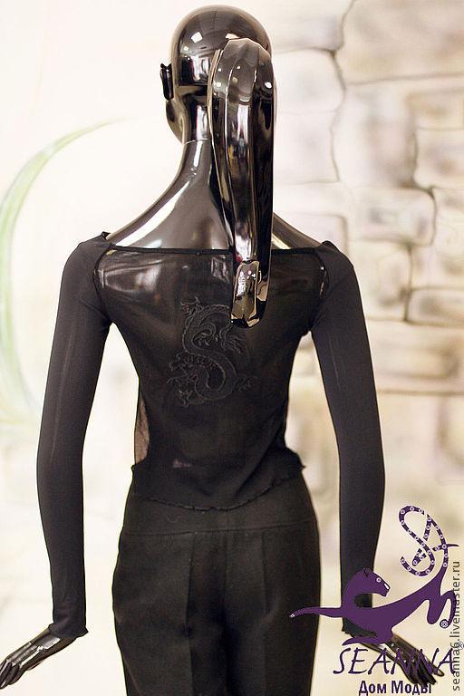 """Блузки ручной работы. Ярмарка Мастеров - ручная работа. Купить Джемпер с вышитой спинкой """"Дракон"""". Handmade. Одежда вышитая"""