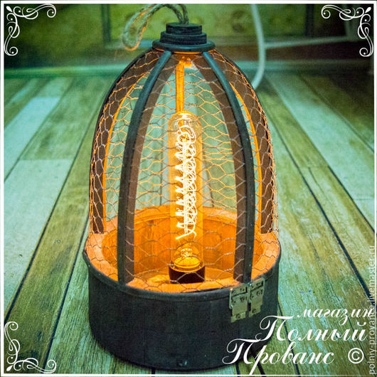 Освещение ручной работы. Ярмарка Мастеров - ручная работа. Купить Ретро-светильник Лофт, дерево, круглое основание 374S. Handmade.