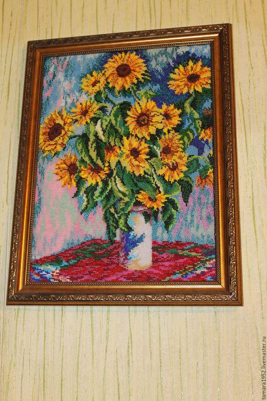 Картины цветов ручной работы. Ярмарка Мастеров - ручная работа. Купить Картина бисером подсолнухи. Handmade. Картина в подарок, цветы