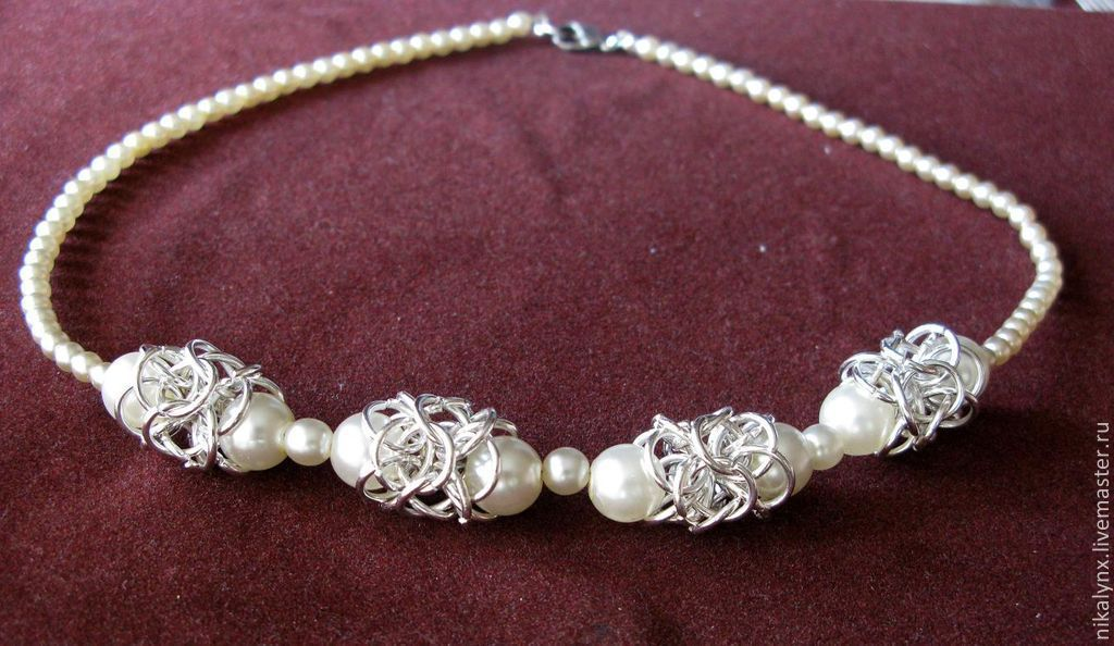 """Beads """"pearl lace"""", Necklace, St. Petersburg,  Фото №1"""