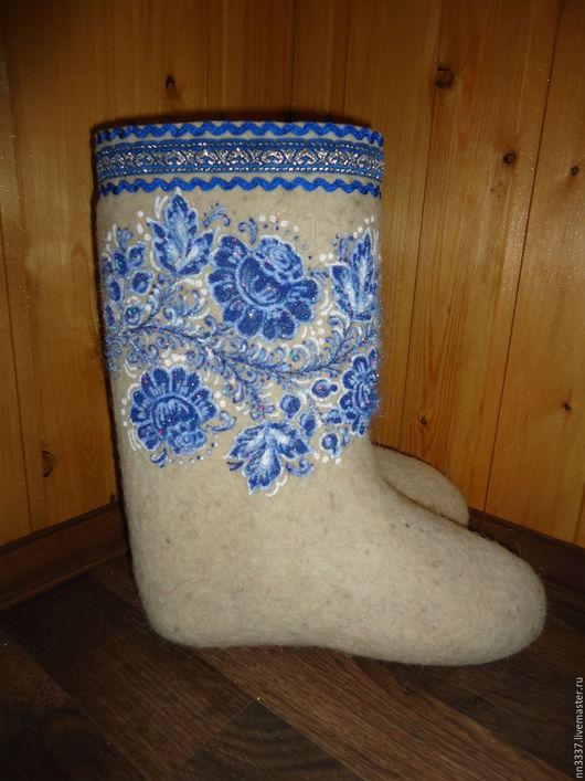 """Обувь ручной работы. Ярмарка Мастеров - ручная работа. Купить Валенки женские """" Гжель-2"""". Handmade. Белый, опт"""