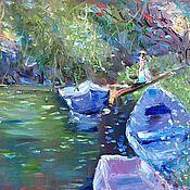 Картины и панно handmade. Livemaster - original item Oil painting. Harmony. The girl at the lake. Handmade.