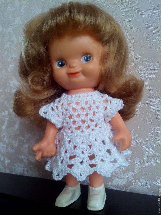 Одежда для кукол ручной работы. Ярмарка Мастеров - ручная работа. Купить ажурное вязаное платье для куклы. Handmade. Платье для куклы