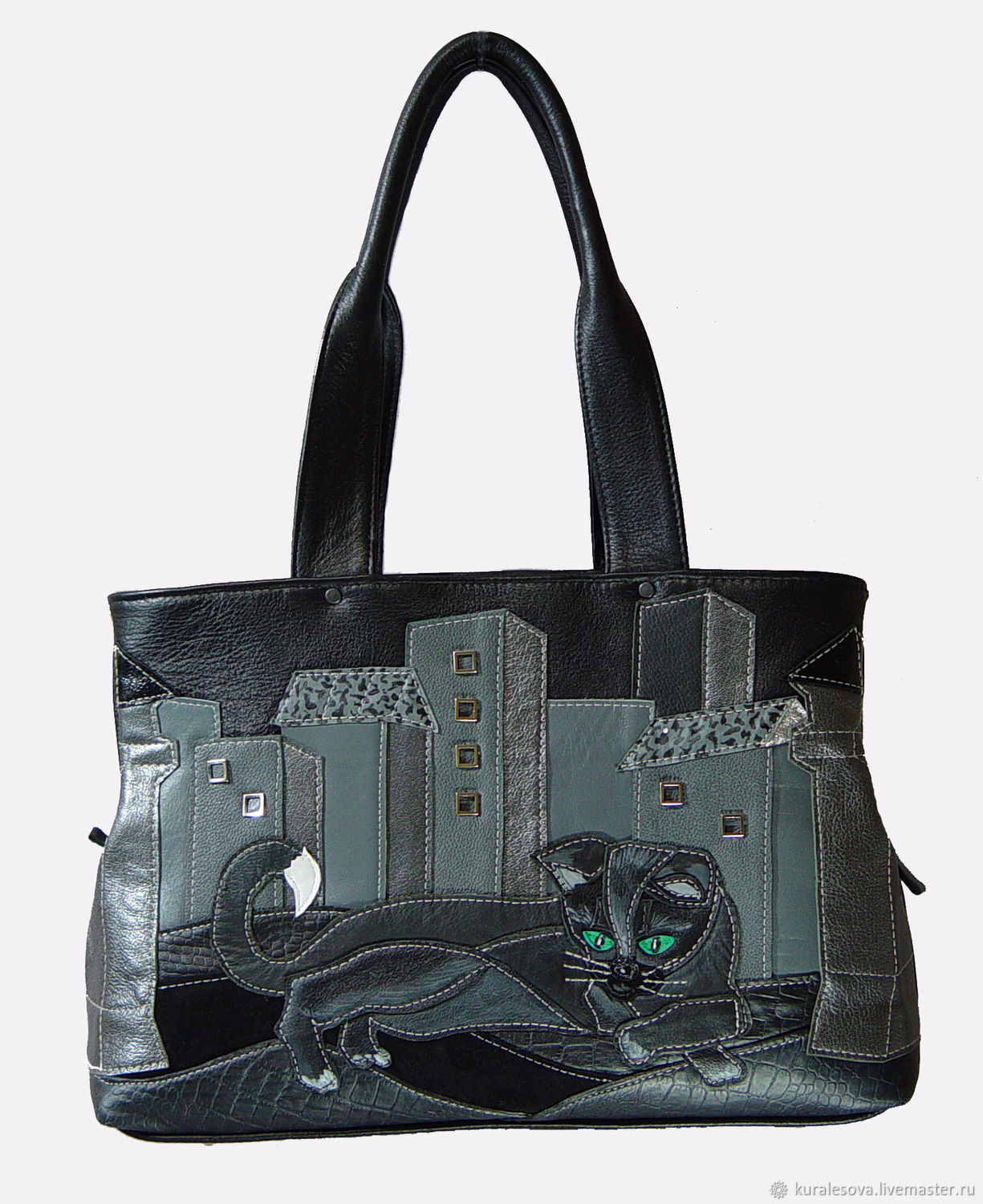 Handbags handmade. Livemaster - handmade. Buy Leather bag 'Black cat'.Handmade, to buy a gift, backing cloth