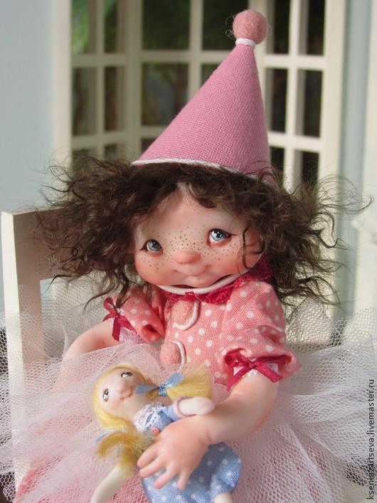"""Коллекционные куклы ручной работы. Ярмарка Мастеров - ручная работа. Купить """"Виви"""". Handmade. Розовый, кудряшки, кожа натуральная"""