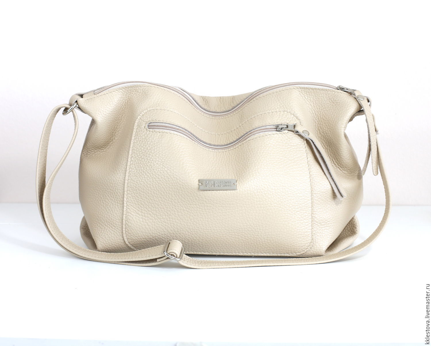 Beige leather Crossbody bag with shoulder strap milk cream, Sports bag, Moscow,  Фото №1
