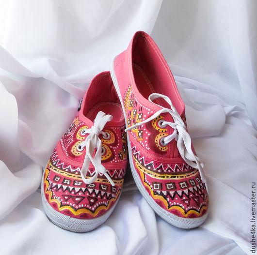 """Обувь ручной работы. Ярмарка Мастеров - ручная работа. Купить Кеды  женские с рисунком на заказ  """"Фламинго"""". Роспись. Handmade. Кеды"""