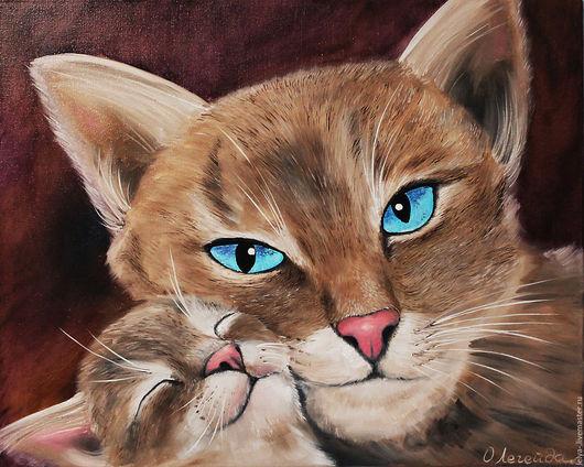 Животные ручной работы. Ярмарка Мастеров - ручная работа. Купить Картина маслом Любовь. Handmade. Кошки, коричневый, картина с кошой