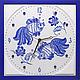 """Часы для дома ручной работы. Ярмарка Мастеров - ручная работа. Купить """"РЫБКИ a la ГЖЕЛЬ"""" из песка часы авторские. Handmade."""