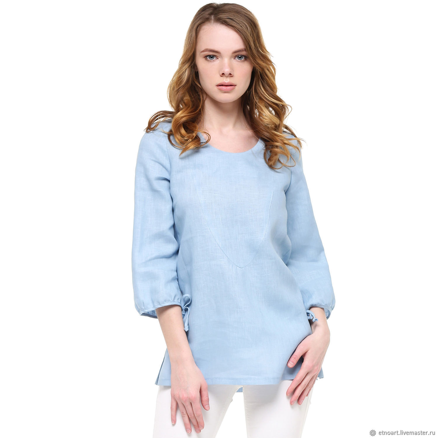 Linen tunic in romantic blue style, Blouses, Tomsk,  Фото №1