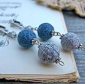 Украшения handmade. Livemaster - original item Earrings Textile Glomeruli Long Light Grey Blue Silver Boho. Handmade.