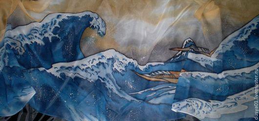 Шарфы и шарфики ручной работы. Ярмарка Мастеров - ручная работа. Купить Шарф-Батик''Большая волна''. Handmade. Рисунок, подарок, воск