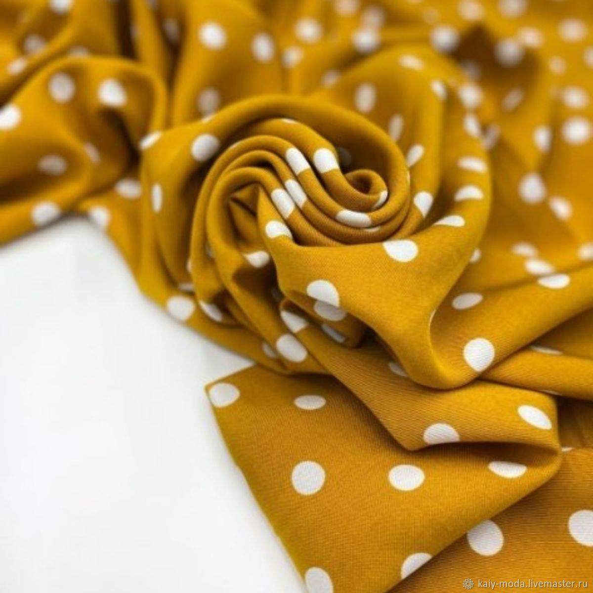 Viscose plaited polka dots on mustard, Fabric, Moscow,  Фото №1