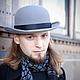 """Шляпа Котелок, серого цвета, отделка черной лентой, материал велюр. \r\nШляпа Котелок """"Уинстон"""", материал велюр"""