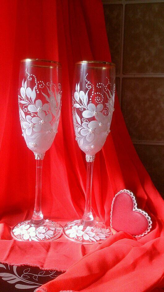 """Бокалы, стаканы ручной работы. Ярмарка Мастеров - ручная работа. Купить Свадебные бокалы """"Нежность"""" Цветочная композиция.. Handmade."""