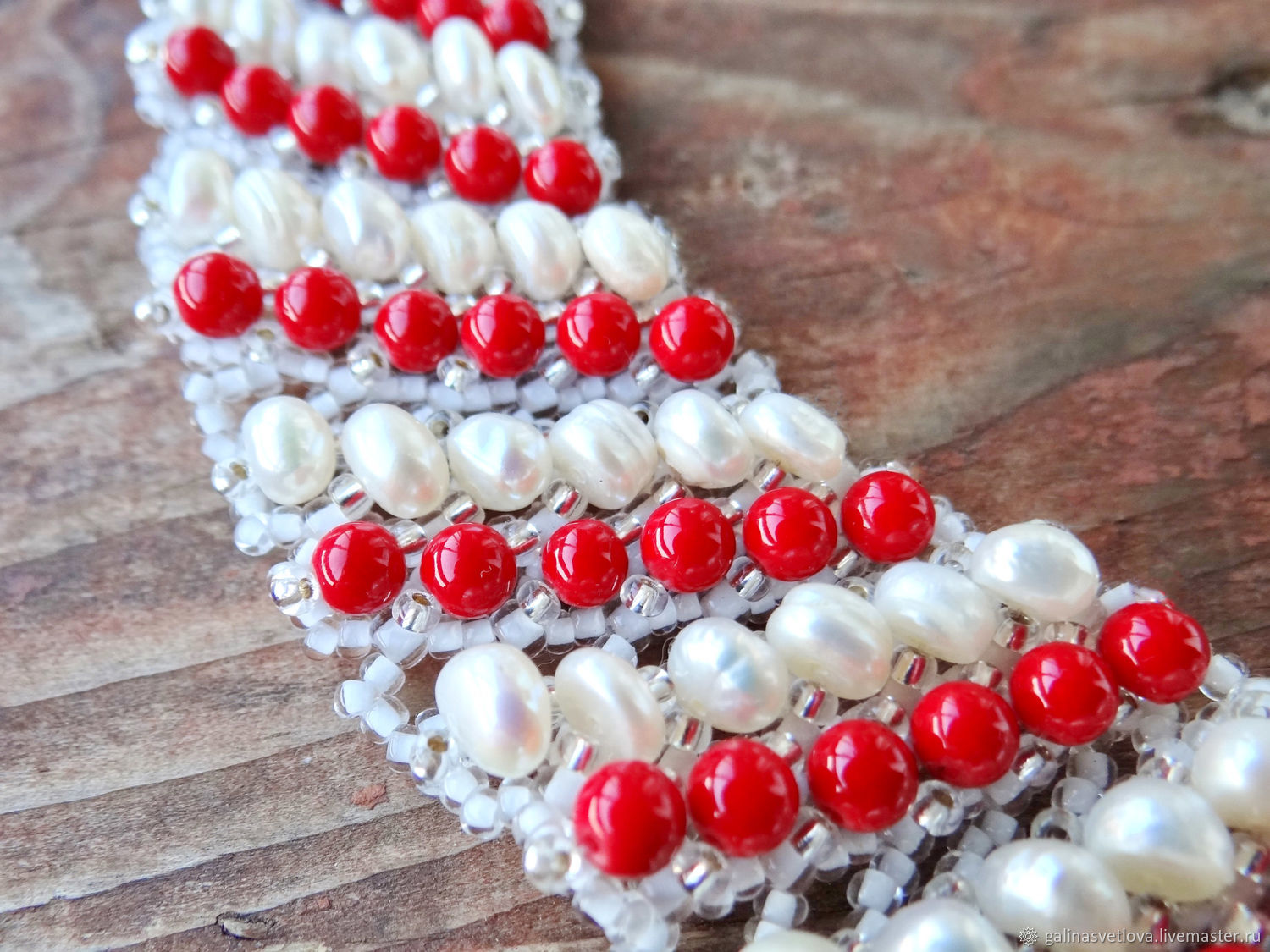 "Necklace ""White and red roses"" coral, pearl, beads, Necklace, Moscow,  Фото №1"
