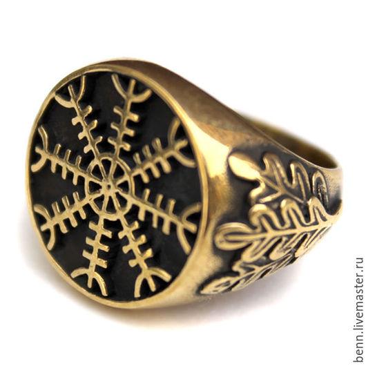 """Кольца ручной работы. Ярмарка Мастеров - ручная работа. Купить Кольцо """"Агисхьяльм"""" (2) Кольцо шлем ужаса Бронзовое кольцо От сглаза. Handmade."""