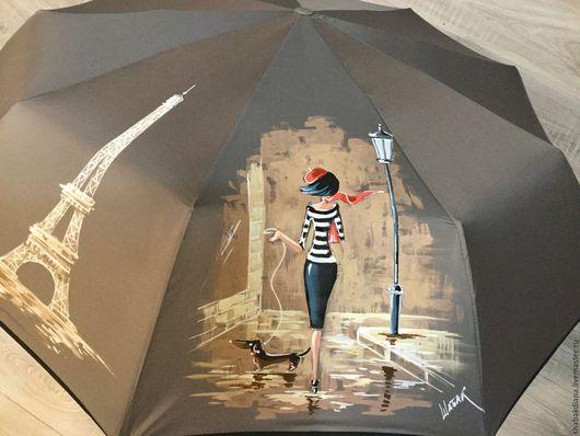 Зонты ручной работы. Ярмарка Мастеров - ручная работа. Купить Зонт с росписью - Парижанка. Handmade. Тёмно-синий, зонт