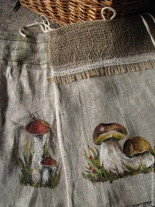 Кухня ручной работы. Ярмарка Мастеров - ручная работа. Купить льняные мешочки для сухих грибов, ручная роспись.. Handmade. Мешочки