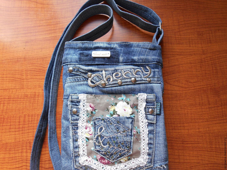 Как сшить маленькую джинсовую сумочку с длинной ручкой 38