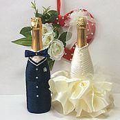 """Бутылки ручной работы. Ярмарка Мастеров - ручная работа Свадебное оформление бутылок """" Жених и невеста"""" (Айвори). Handmade."""