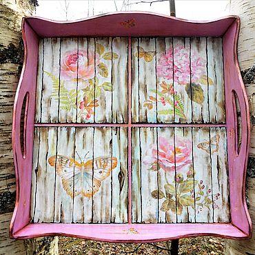 Для дома и интерьера ручной работы. Ярмарка Мастеров - ручная работа Поднос Осенние бабочки. Handmade.