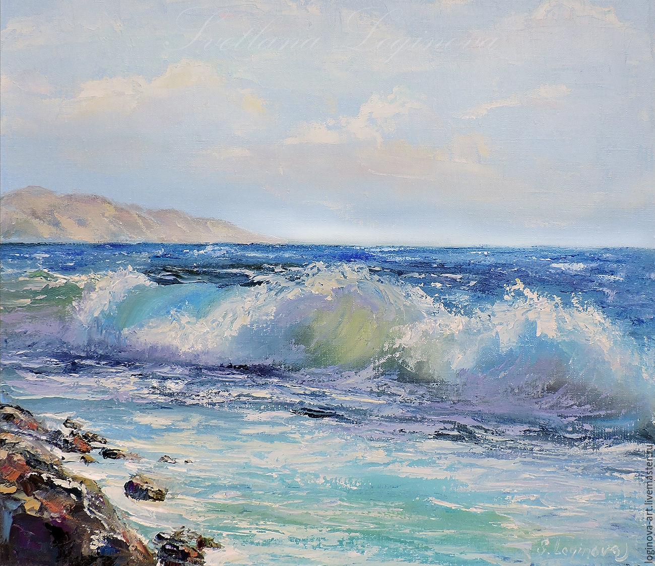 Морской прибой- живопись маслом, Картины, Находка,  Фото №1