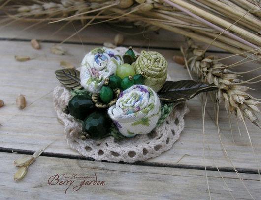 Броши ручной работы. Ярмарка Мастеров - ручная работа. Купить Брошь Полевые цветы. Handmade. Зеленый, бежевый, хлопковая пряжа