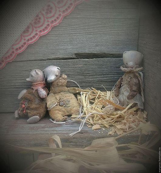 """Игрушки животные, ручной работы. Ярмарка Мастеров - ручная работа. Купить """"Найденыши"""" набор мишек-висюлек. Елочные игрушки.. Handmade."""