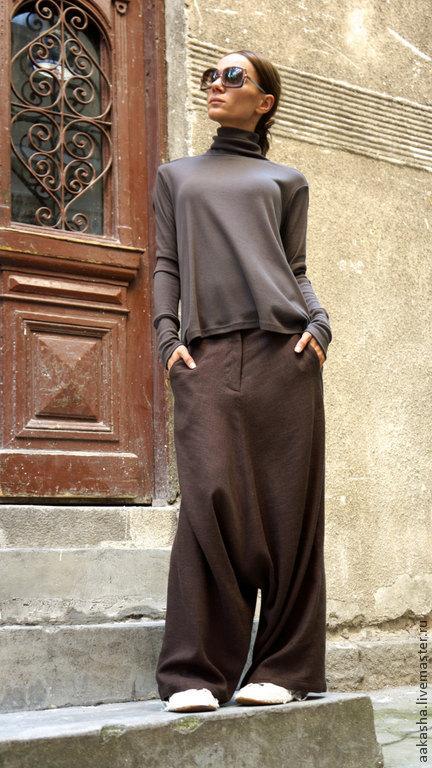 брюки с мотней льняные штаны свободные штаны шаровары